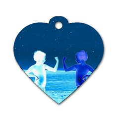 Space Boys  Dog Tag Heart (one Side) by Valentinaart