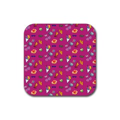 Aloha   Summer Fun 1b Rubber Square Coaster (4 Pack)  by MoreColorsinLife