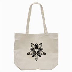 Star Sunflower Flower Floral Black Tote Bag (cream) by Mariart