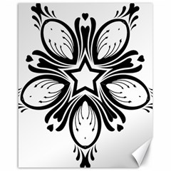 Star Sunflower Flower Floral Black Canvas 16  X 20   by Mariart