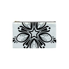 Star Sunflower Flower Floral Black Cosmetic Bag (small)  by Mariart