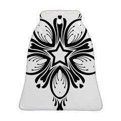 Star Sunflower Flower Floral Black Ornament (bell) by Mariart