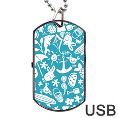 Summer Icons Toss Pattern Dog Tag Usb Flash (two Sides) by Mariart