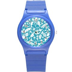 Summer Icons Toss Pattern Round Plastic Sport Watch (s) by Mariart