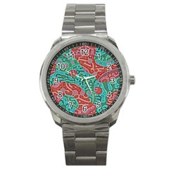 Recursive Coupled Turing Pattern Red Blue Sport Metal Watch by Mariart