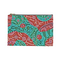 Recursive Coupled Turing Pattern Red Blue Cosmetic Bag (large)  by Mariart