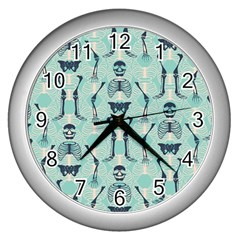Skull Skeleton Repeat Pattern Subtle Rib Cages Bone Monster Halloween Wall Clocks (silver)  by Mariart