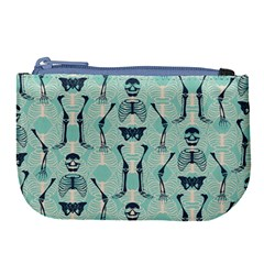 Skull Skeleton Repeat Pattern Subtle Rib Cages Bone Monster Halloween Large Coin Purse by Mariart