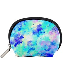Transparent Colorful Rainbow Blue Paint Sky Accessory Pouches (small)  by Mariart
