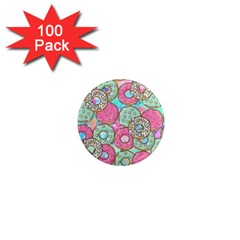 Donuts Pattern 1  Mini Magnets (100 Pack)  by ValentinaDesign