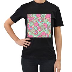 Donuts Pattern Women s T Shirt (black) (two Sided) by ValentinaDesign