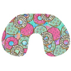 Donuts Pattern Travel Neck Pillows by ValentinaDesign