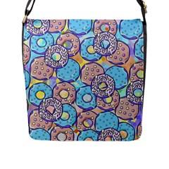Donuts Pattern Flap Messenger Bag (l)  by ValentinaDesign