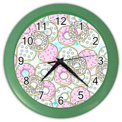 Donuts Pattern Color Wall Clocks by ValentinaDesign