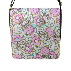 Donuts Pattern Flap Messenger Bag (l)  by ValentinaDesign