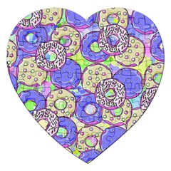 Donuts Pattern Jigsaw Puzzle (heart) by ValentinaDesign