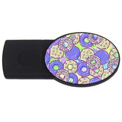Donuts Pattern Usb Flash Drive Oval (4 Gb) by ValentinaDesign