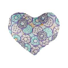 Donuts Pattern Standard 16  Premium Flano Heart Shape Cushions by ValentinaDesign