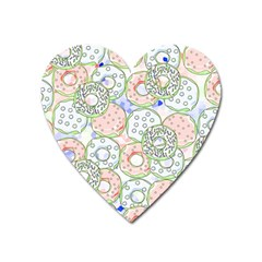 Donuts Pattern Heart Magnet by ValentinaDesign