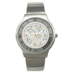 Donuts Pattern Stainless Steel Watch by ValentinaDesign