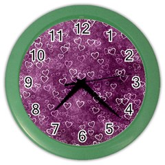 Heart Pattern Color Wall Clocks by ValentinaDesign