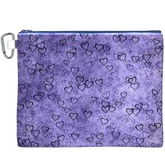 Heart Pattern Canvas Cosmetic Bag (xxxl) by ValentinaDesign