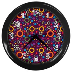 70s Pattern Wall Clocks (black) by ValentinaDesign