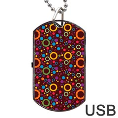 70s Pattern Dog Tag Usb Flash (one Side) by ValentinaDesign