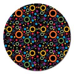 70s Pattern Magnet 5  (round) by ValentinaDesign