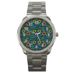 70s Pattern Sport Metal Watch by ValentinaDesign