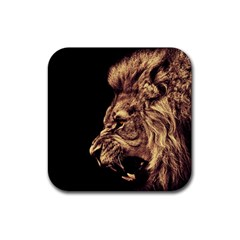 Angry Male Lion Gold Rubber Square Coaster (4 Pack)  by Zhezhe