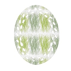 Weeds Grass Green Yellow Leaf Oval Filigree Ornament (two Sides) by Mariart