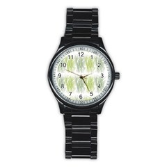 Weeds Grass Green Yellow Leaf Stainless Steel Round Watch by Mariart