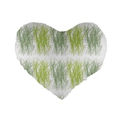 Weeds Grass Green Yellow Leaf Standard 16  Premium Flano Heart Shape Cushions by Mariart