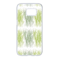 Weeds Grass Green Yellow Leaf Samsung Galaxy S7 Edge White Seamless Case by Mariart