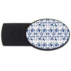 Rabbits Deer Birds Fish Flowers Floral Star Blue White Sexy Animals Usb Flash Drive Oval (4 Gb) by Mariart