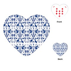 Rabbits Deer Birds Fish Flowers Floral Star Blue White Sexy Animals Playing Cards (heart)  by Mariart
