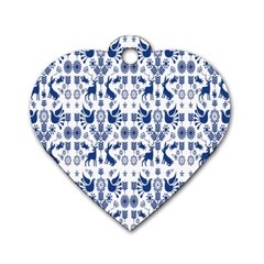 Rabbits Deer Birds Fish Flowers Floral Star Blue White Sexy Animals Dog Tag Heart (one Side)