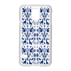 Rabbits Deer Birds Fish Flowers Floral Star Blue White Sexy Animals Samsung Galaxy S5 Case (white) by Mariart