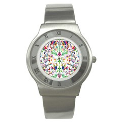Peacock Rainbow Animals Bird Beauty Sexy Stainless Steel Watch by Mariart