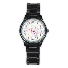 Rainbow Green Purple Pink Red Blue Pattern Zommed Stainless Steel Round Watch by Mariart