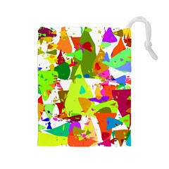 Colorful Shapes On A White Background                             Drawstring Pouch by LalyLauraFLM