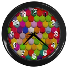 Colorful Tiles Pattern                           Wall Clock (black) by LalyLauraFLM