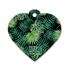 Tropical Pattern Dog Tag Heart (two Sides) by ValentinaDesign