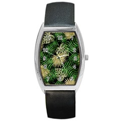 Tropical Pattern Barrel Style Metal Watch by ValentinaDesign