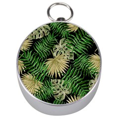 Tropical Pattern Silver Compasses by ValentinaDesign