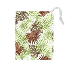 Tropical Pattern Drawstring Pouches (large)  by ValentinaDesign