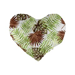 Tropical Pattern Standard 16  Premium Flano Heart Shape Cushions by ValentinaDesign