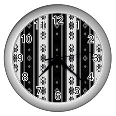 Folklore Pattern Wall Clocks (silver)  by ValentinaDesign