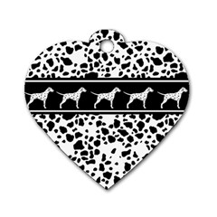 Dalmatian Dog Dog Tag Heart (two Sides) by Valentinaart